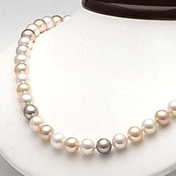 Collier 45 cm de perles d'Eau Douce de 8 à 9 mm Multicolores DOUCEHADAMA