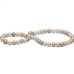 Collier 45 cm de perles d'Eau Douce de 9,0 à 9,5 mm Multicolores DOUCEHADAMA
