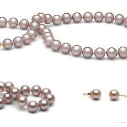 Parure perles d'Eau Douce Lavandes 8-9 mm 45/18 cm DOUCEHADAMA
