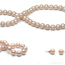 Parure perles d'Eau Douce pêches 8-9 mm 45/18 cm DOUCEHADAMA