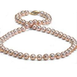Collier de perles d'Eau Douce de 6 à 7 mm, 45 cm, pêches métalliques AAA