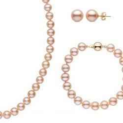 Parure Perles d'Eau Douce 9-10 mm 3 Bijoux longueurs 55/20 cm + BO