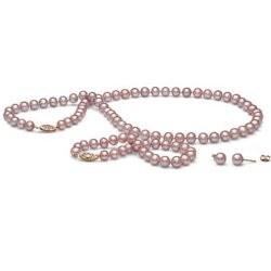 Parure Perles d'Eau Douce 6 à 7 mm Lavande 3 Bijoux Collier Bracelet 45/18 cm boucles