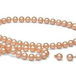 Parure Perles d'Eau Douce 6 à 7 mm Pêche 3 Bijoux Collier Bracelet 45/18 cm boucles