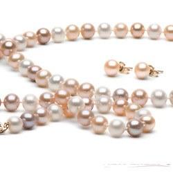 Parure de Perles d'Eau Douce 6 à 7 mm 3 teintes 3 Bijoux Collier Bracelet boucles