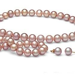 Parure de Perles d'Eau Douce 8 à 9 mm Lavande 3 Bijoux Collier Bracelet boucles