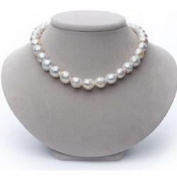 Collier 45 cm de perles d'eau douce Ripple Blanches Baroques de 10 à 13 mm