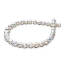Collier 45 cm de grandes perles d'eau douce Ripple Blanches Baroque de 13 à 15 mm