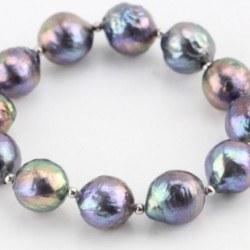 Bracelet Perles Kasumi Eau Douce Noires 10-12 mm billes Argent elastique