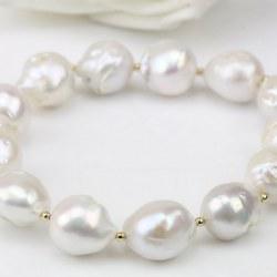 Bracelet de Perles Ripple d'eau douce 11-13 mm Blanches avec billes Plaqué Or