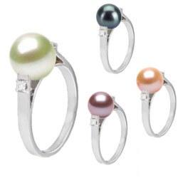 Bague Argent 925 et diamants avec perle d'eau douce 8-9 mm AAA