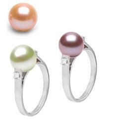 Bague Argent 925 et diamants avec perle d'eau douce 8-9 mm DOUCEHADAMA