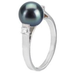 Bague Argent 925 et diamants avec perle noire d'eau douce 8-9 mm AAA