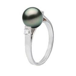 Bague Argent 925 et diamants avec perle de culture de Tahiti 8-9 mm