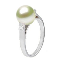 Bague en Argent 925 avec diamants et perle d'Akoya AAA