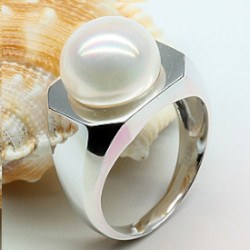 Bague Argent 925 avec perle d'eau douce blanche 11-11,5 mm AA+ forme bouton