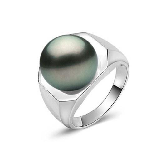 Bague Argent 925 avec perle de Tahiti 10-11 mm AAA