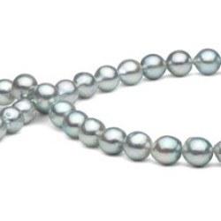 Collier 45 cm de perles d'Akoya Baroque de couleur Bleu argenté 8-8.5 mm