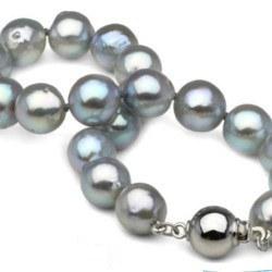 Bracelet 18 cm de perles d'Akoya Baroques Bleu argentées 8-8.5 mm
