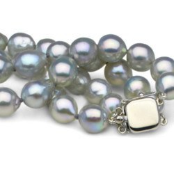 Bracelet double rang de perles d'Akoya Baroques Bleu argentées 8-8.5 mm, 2x18 cm