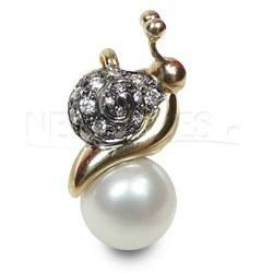 Pendentif Escargot Or 18k & Diamants Perle Doucehadama