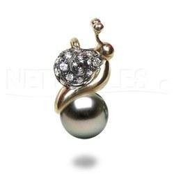 Pendentif Escargot Or & Diamants Perle de Tahiti