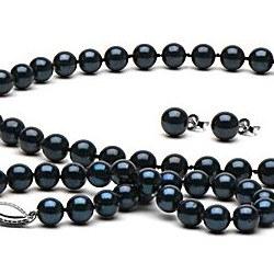 Parure 3 Bijoux de Perles Noires d'Akoya 45/18 cm 6,5 à 7,0 mm AA+
