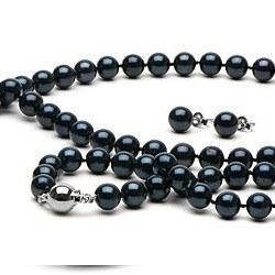 Parure 3 Bijoux de Perles Noires d'Akoya 45/18 cm 7 à 7,5 mm AA+