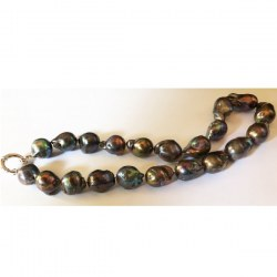 Coliier 45 cm de grandes perles Exotiques Noires Fireball d'Eau Douce