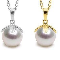 Pendentif Or 14k perle de culture d'Akoya 9-9,5 mm blanche AAA