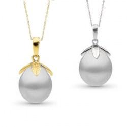 Pendentif Or 14k Perle d'Australie Blanche Goutte de 10 à 11 mm AA+