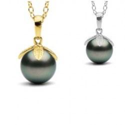 Pendentif Or 14 carats Perle de Tahiti de 9 à 10 mm