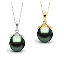 Pendentif Or 14k Perle de Tahiti Goutte de 10 à 11 mm AAA