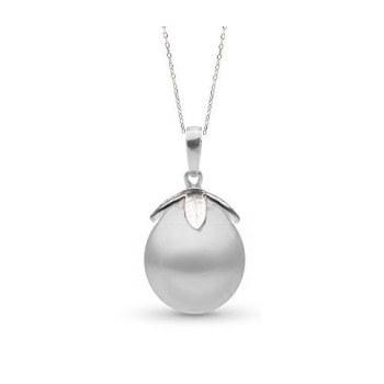 Pendentif Argent 925 Perle d'Australie Blanche Goutte de 10 à 11 mm AA+