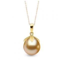 Pendentif Or 14k Perle des Philippines Dorée Goutte de 10 à 11 mm AAA