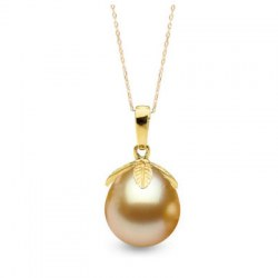 Pendentif Or 18k Perle des Philippines Dorée Goutte de 10 à 11 mm AAA