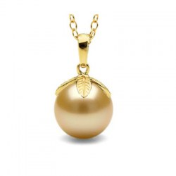 Pendentif Or 18k perle de culture des Philippines dorée 9-10 mm AAA