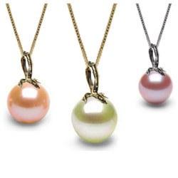 Pendentif Or gris ou Jaune 18k et perle de culture d'Eau Douce DOUCEHADAMA