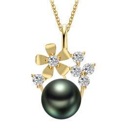 Pendentif en Or 9k diamants et perle de culture de Tahiti de 9-10 mm