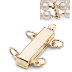 Fermoir Or 14k spécial pour 2 rangs de perles supérieures à 8 mm