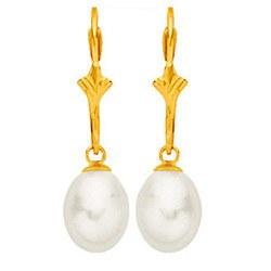 Boucles d'Oreilles Or 18k Perles d' Eau Douce Goutte blanches 8,5-9 mm