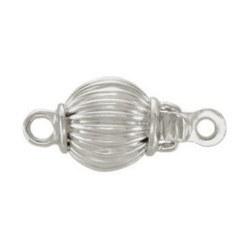 Fermoir rond 10 mm pour rang de perles, Or Gris 18k strié 0,80 gr