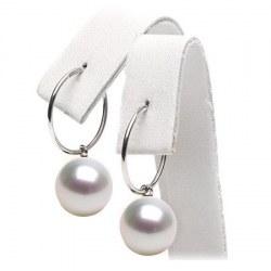 Boucles d'Oreilles Créoles Or 18k Perles d'Australie Blanches AAA