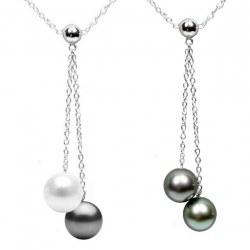 Collier 40 cm perles d'Australie et de Tahiti qualité AAA et chaîne en Argent 925