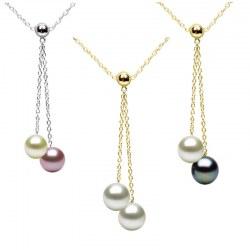 Collier 45 cm de perles de culture d'eau douce qualité AAA et chaîne en Or 14 carats