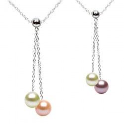Collier 40 cm perles de culture d'eau douce qualité DOUCEHADAMA et chaîne en Argent 925