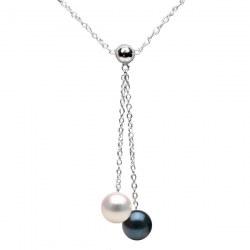 Collier 40 cm perles de culture d'Akoya qualité AAA et chaîne en Argent 925