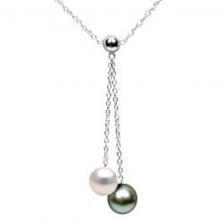 Collier 40 cm perles d'Akoya et de Tahiti qualité AAA et chaîne en Argent 925