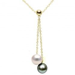 Collier perles d'Akoya et de Tahiti qualité AAA et chaîne en Or 14k