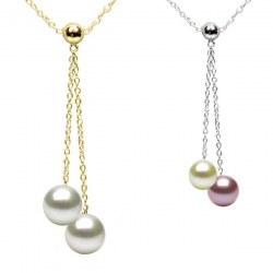 Collier 45 cm perles de culture d'eau douce qualité DOUCEHADAMA et chaîne en Or 14k